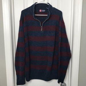 Chaps Ralph Lauren Half Zip Striped Sweater